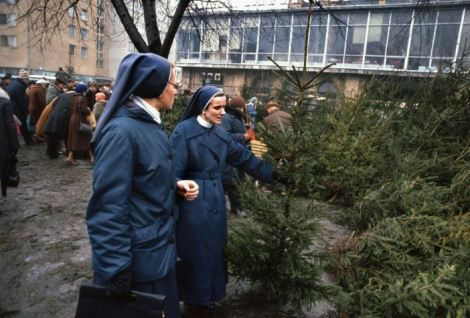 nuns at christmas time, warsaw, poland, 1981